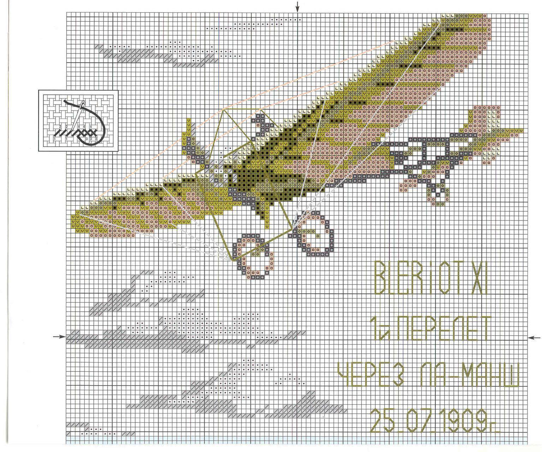Вышивка крестом самолеты ретро 99